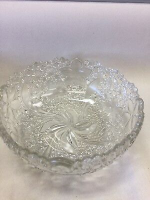 1910 INDIANA GLASS DAISY AND BUTTONS WITH NARCISSUS SCALLOPED EDGE Large BOWL 8""