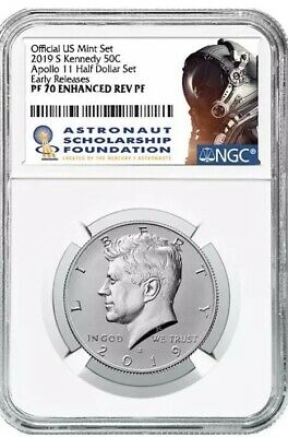 2019 S Kennedy Half Enhanced Reverse Proof NGC PF70  Early Release Apollo 11