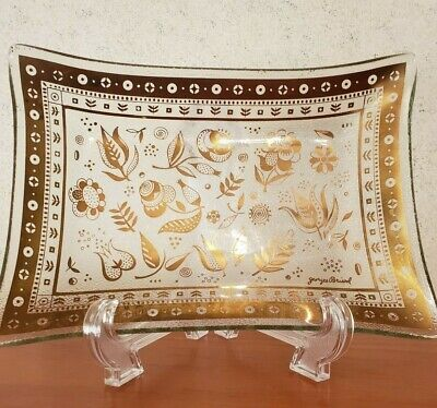 Georges Briard glass rectangle tray Persian Garden