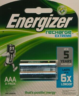 ENERGIZER 2 pack Recharge Extreme 1.2V 800mAh AAA NIMH Batteries NEW
