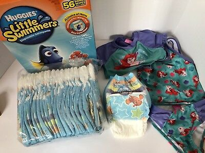 Lot 3 pc. Little Mermaid Suit 3T+ 20 Huggies Little Swimmers Swimpants M 24-34lb