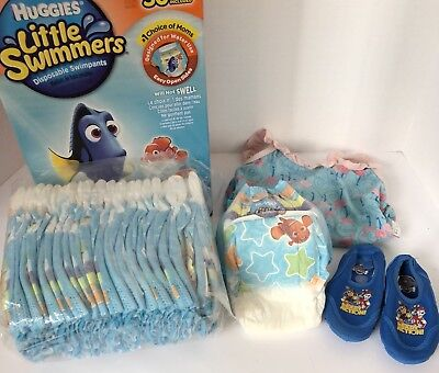 Girl Lot: 24M Suit, Surf Shoes + 20 Huggies Little Swimmers Swimpants M 24-34lb