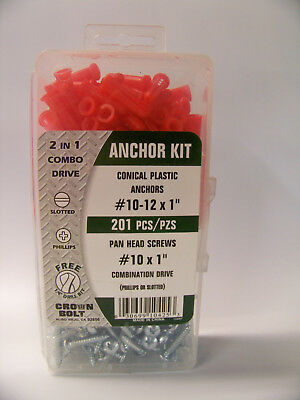"""Crown Bolt 201 Pcs. #10-12 X 1"""" Conical Plastic Anchor Set For Drywall /Plaster"""