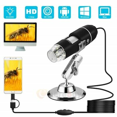 1000X 8LED USB 2.0 Digital 2MP Microscope Endoscope Zoom Camera Magnifier +Stand