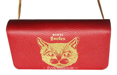 AUTH GUCCI Garden Gold Red Leather CAT HANDBAG Florence Gift New + Bag + Box