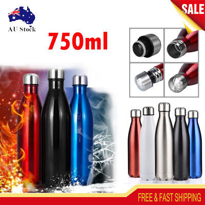 750ML Stainless Steel Insulated Flask Thermal Thermos Sports Water Bottle+Brush