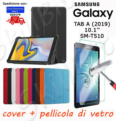 Custodia Cover Stand Pelle Per Samsung Galaxy Tablet Tab A 2019 Sm-T510 10.1+Vet