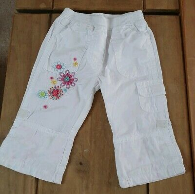Mothercare White Floral Trousers turn up 6/9 Months combine post build a bundle
