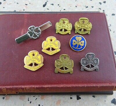 Lot of 8 Vintage Girl Guides Badges / Pins 1920's - 1980's