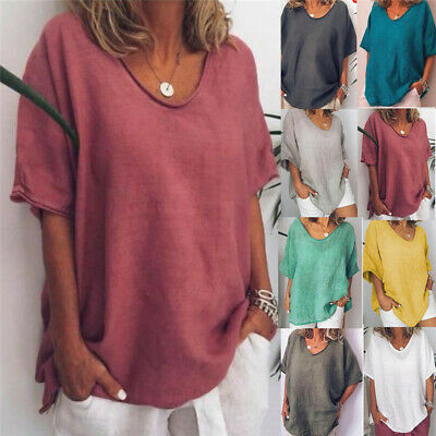 UK Womens Summer Top Loose Fit Blouse Ladies Plus Size Shirt Holiday Boho Tshirt