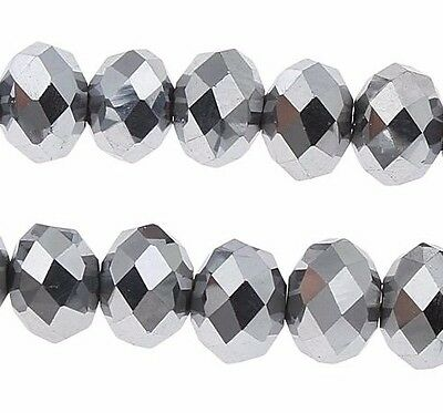 75 TSCHECHISCHE KRISTALL PERLEN GLASPERLEN 4mm Fire-Polished Silber MODE X49#3
