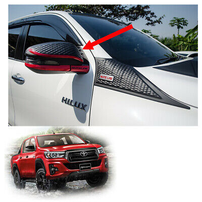 Wing Side Mirror Cover Trim Red Matte Black For Toyota Hilux Revo Rocco 2017 18