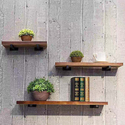 Retro Wooden Industrial Style Wall Shelf Storage Unit Metal Shelves Vintage