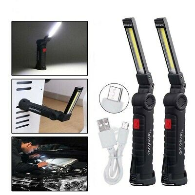 LED COB Rechargeable Torch Inspection Lamp Cordless Work Light Flexible Magnetic