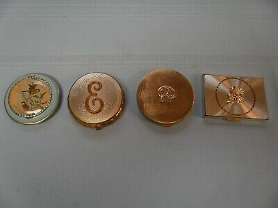 4 Vintage make up compacts different shapes, gold tones, Blue with Birds, EMPTY