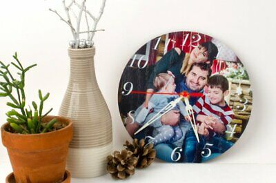 Family Personalized Wooden Wall Clock Handmade Custom Color Image Text Laser Cut