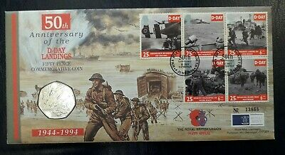 1994 D-Day 50th Anniversary coin cover (British Legion) with fifty pence (50p)