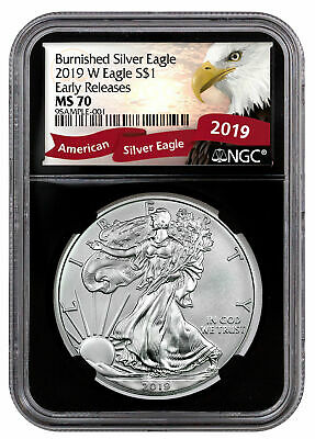 2019 W Burnished American Silver Eagle NGC MS70 ER Black Eagle Label SKU55845
