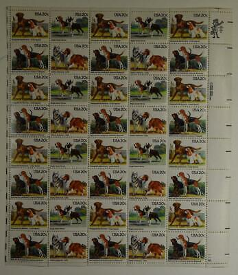 Us Scott 2098-2101 Pane Of 40 Dogs Stamps 20 Cent Face Mnh