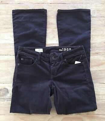 GAP Skinny Boot Jeans Corduroy Dark Brown Nightshade Pants - Size 26/ 2P Petite