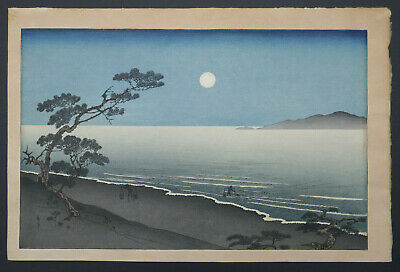 Japanese Woodblock Print, Signed Yoshimune Arai (1863-1944), Suma Beach At Night