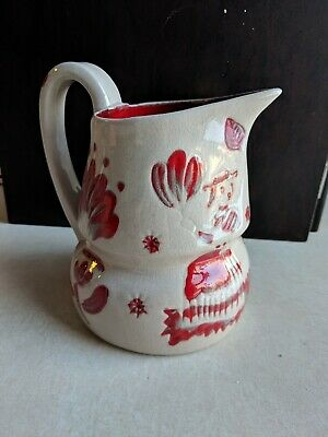 Vintage California Cleminsons Galagray Pennsylvania Oatmeal and Red Milk Pitcher