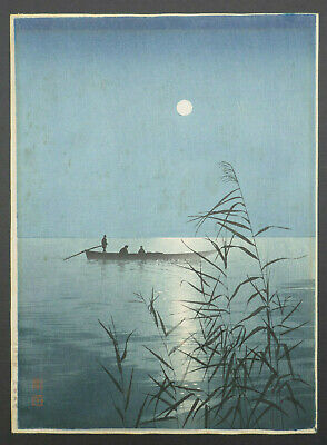 Koho Shoda (1871-1946) Japanese Woodblock Print Fishing Boat In Moonlight Signed