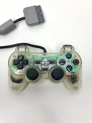 Sony PlayStation PS1 Dual Shock Controller Crystal Clear Genuine