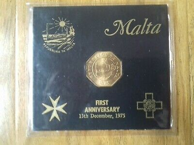 Republic Of Malta 1975 - First Anniversary 25 Cents Coin