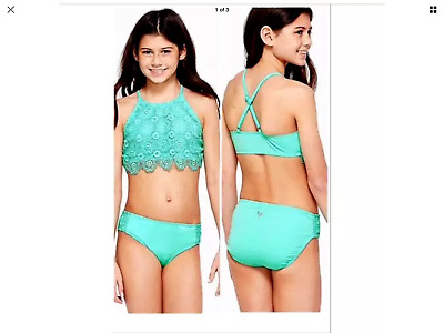 cbc3bed1bf NEW JUSTICE GIRL'S Swim Suit Size 10, Size 12 Tankini Mint Crochet ...
