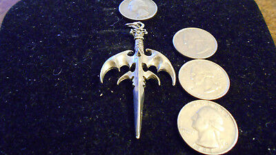 bling pewter demonic evil bat wings pagan sword pendant charm leather necklace