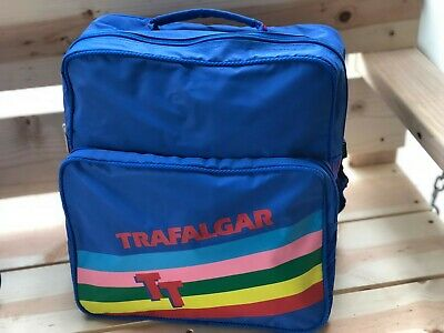 05c77ac4597f0b Vintage 80's Trafalgar TT Travel Rainbow Messenger Flight Tote Overnight Bag