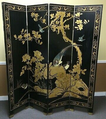 Antique Chinese Black Lacquer Room Divider 4 Panel Screen Blue Birds 2 Sided