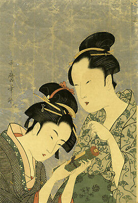 "Exquisite UTAMARO Japanese Meiji era woodblock reprint ""OKITA AND OFUJI"""