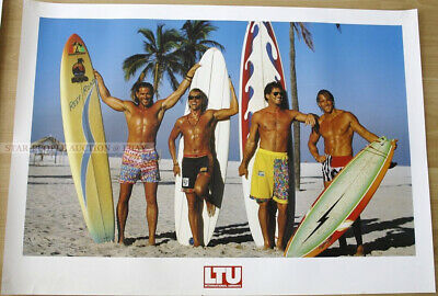 VINTAGE POSTER GERMAN AIRLINE LTU GERMANY 3 TOPLESS WOMEN IN THONG 1980/'S