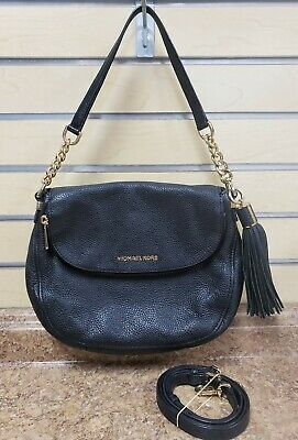 a4de2defa6c0 *Michael Kors Medium Bedford Tassel Convertible Black Shoulder Bag PreOwned  FS