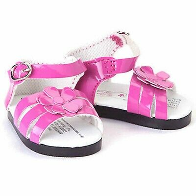 """18"""" Doll Pink Strappy Sandal Shoes +Box Fits American Girl Clothes & Accessories"""