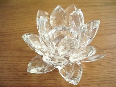 Large Hand Cut Clear Crystal Lotus Flower Candle Holder By Julien Macdonald.