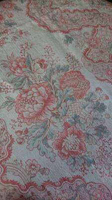 SUBLIME PANEL ANTIQUE FRENCH PRINTED LINEN CLASSICAL ROSE BASKETS PASTELS c1880