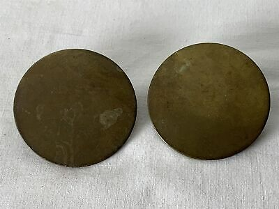 Pair Antique Matched Victorian Plain Rosette Disc Horse Brass Brasses