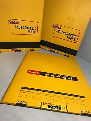 """Vintage 1965 Kodak Photographic Paper 10 Sheets - 11""""x14"""" Double Weight Opal G"""