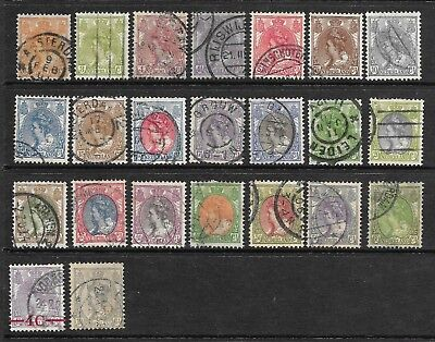Netherlands 1899 - 1921- Queen Wilhelmina definitives - used 23 values