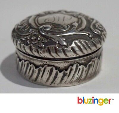 Antique French Sterling Silver Pill Box Snuff Box