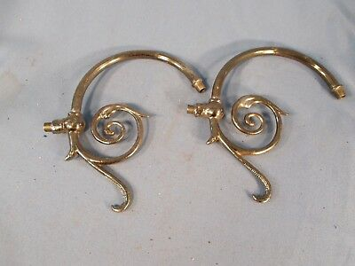 Victorian pair of Brass Arms with Leafy scrolled Arm Back Lamp Parts