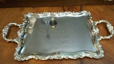 415g AMAZING TRAY CARVING ROLEOS & FLOWERS DESIGN STERLING SILVER.