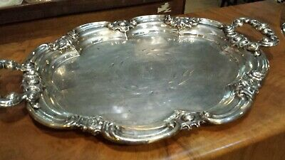 985g STERLING SILVER XIX HANDLE TRAY COLONIAL STYLE: ROVIRA ,BARCELONA HM