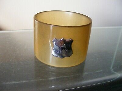 Antique Napkin Ring With Sterling Silver Monogrammed Cartouche