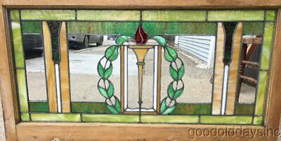"""1 of 2 Antique Chicago Stained Leaded Glass Transom Window 46"""" x 24"""""""