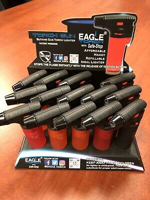 14 Pack Eagle Butane Torch Lighter Gun Windproof Adjustable Jet Flame Refillable