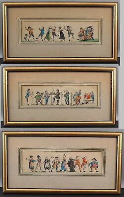 3 Antique 19thC German Gebruder Schmitt Hand Colored Etching Prints Masquerade